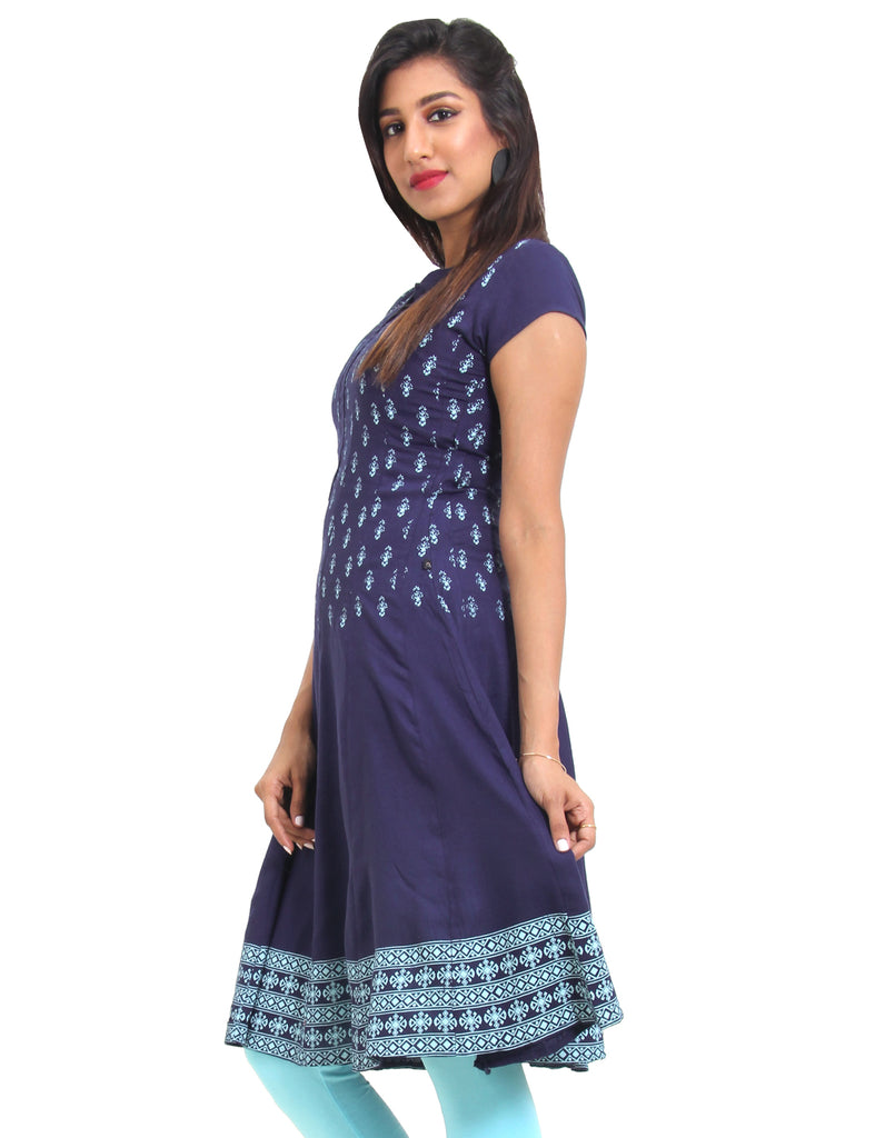 Twilight Blue Cotton Anarkali With Beautiful Floral Motifs