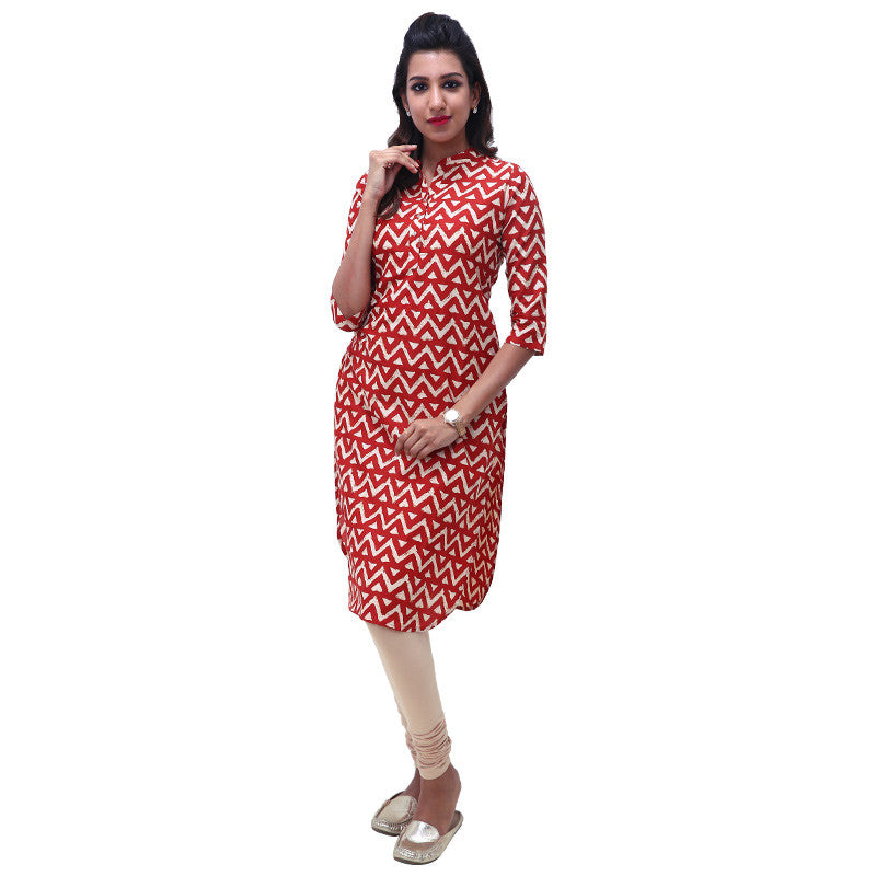 Chilli Pepper Red Straight-Cut Mandarin Collar Kurta