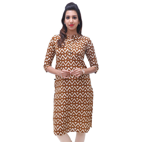 Tortoise Shell Straight-Cut Mandarin Collar Kurta