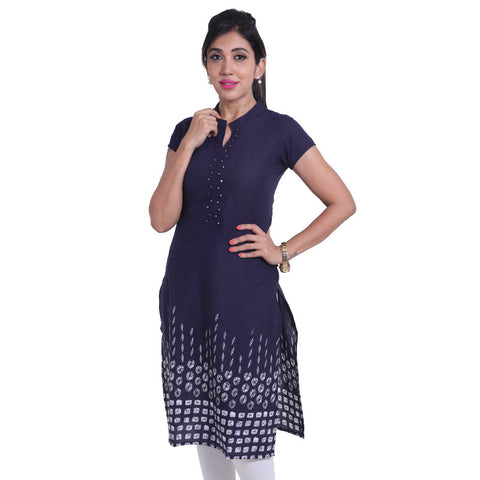 Indigo Printed Cotton Straight-Cut Kurta