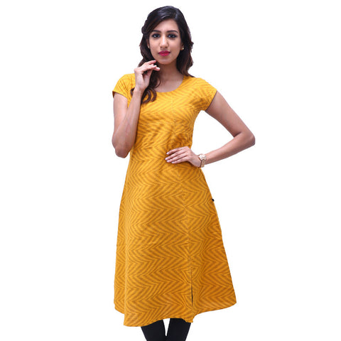 Citrus Yellow Cotton Crossover Neckline A-line Kurta