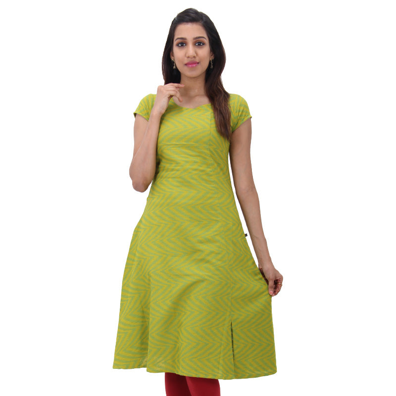 Antique Moss Cotton Crossover Neckline A-line Kurta