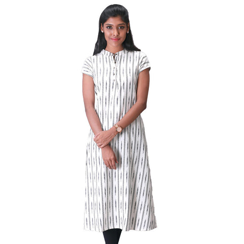 Ikat Woven Mandarin Collar White Cotton Kurta From eSTYLe