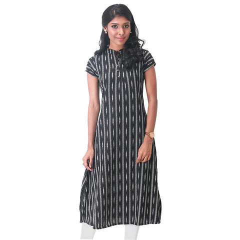 Ikat Woven Mandarin Collar Black Cotton Kurta From eSTYLe