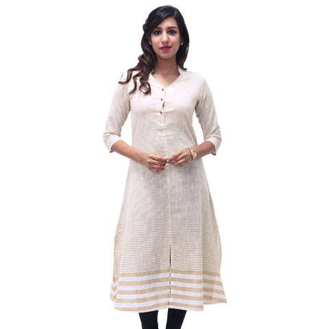Mellow Buff Mandarin Neckline Cotton Kurta