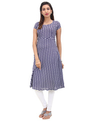 Estate Blue Rayon Kurta With Geometrical Prints