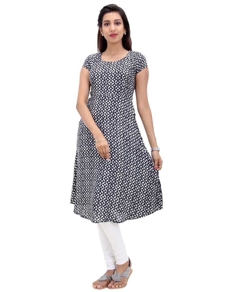 Black & White Rayon Kurta With Geometrical Prints