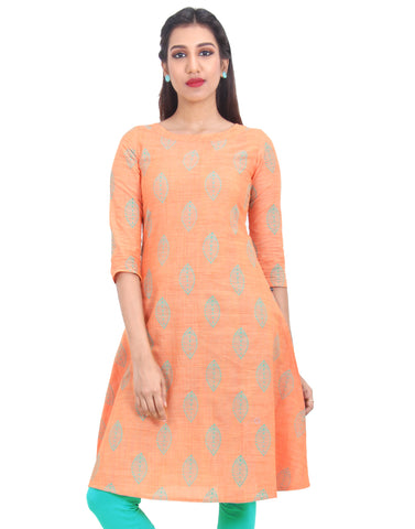 Mock Orange Cotton Straight-Cut Kurta