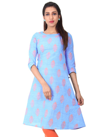 Bonnie Blue Cotton Straight-Cut Kurta