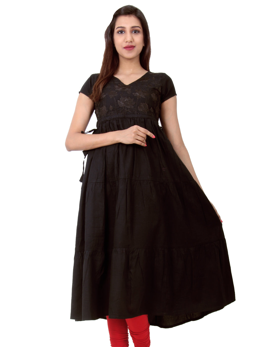 Jet Black Embroidered Anarkali With Adjustable Waist Belt