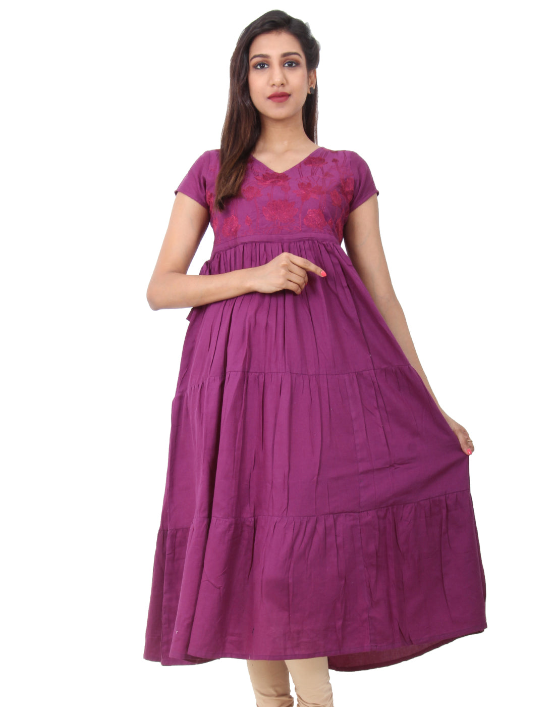 Amethyst Embroidered Anarkali With Adjustable Waist Belt