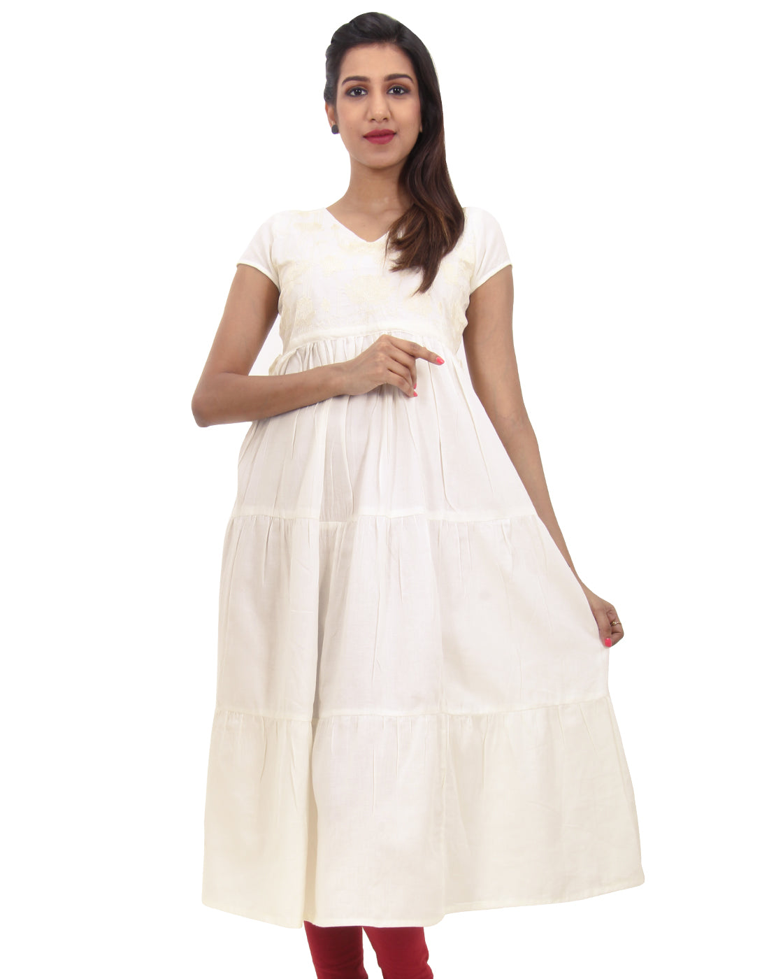 Bright White Embroidered Anarkali With Adjustable Waist Belt