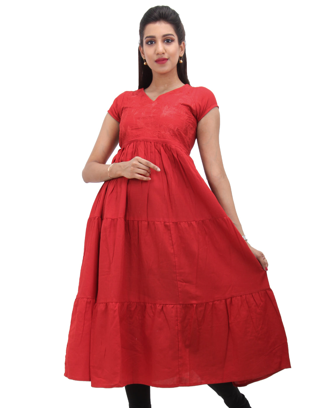 High Risk Red Embroidered Anarkali With Adjustable Waist Belt
