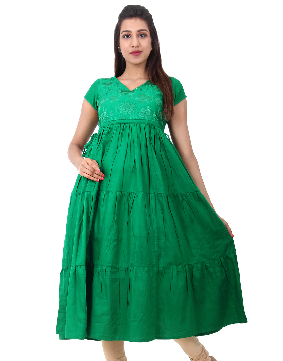 Jelly Bean Embroidered Anarkali With Adjustable Waist Belt