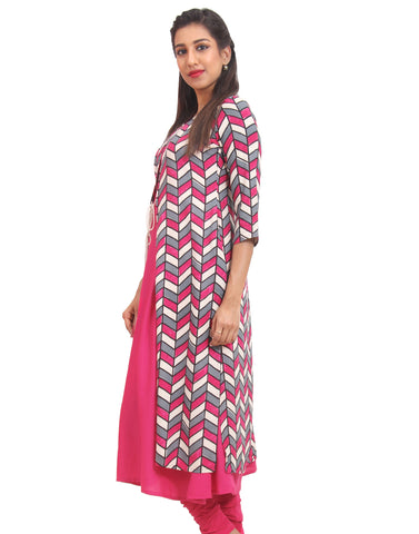 Beetroot Purple Rayon Anarkali with Over Coat