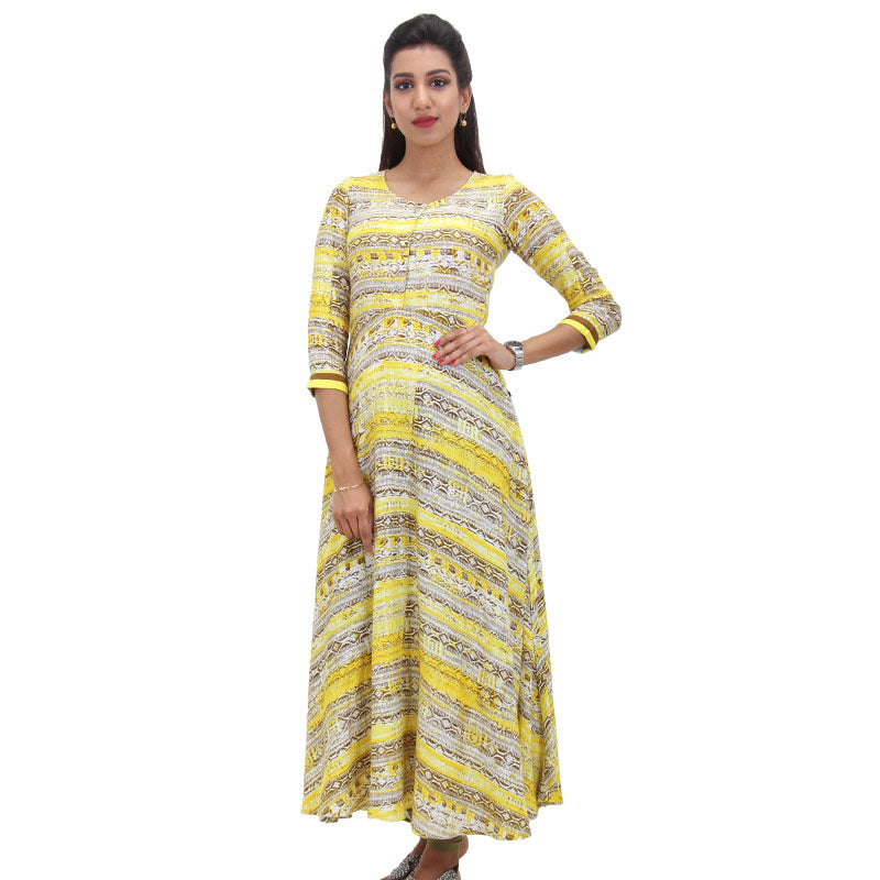 Bronze Brown Rayon Printed Anarkali Kurta