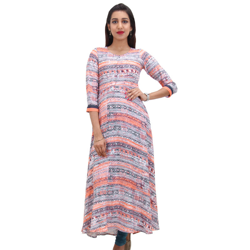 Navy Blue Rayon Printed Anarkali Kurta