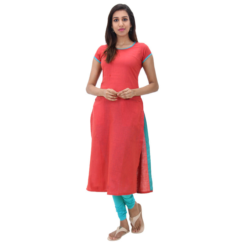 Grenadine Red Cotton Straight-Cut Kurta