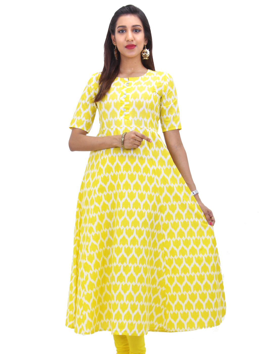 Buttercup Yellow Cotton Self Design Anarkali