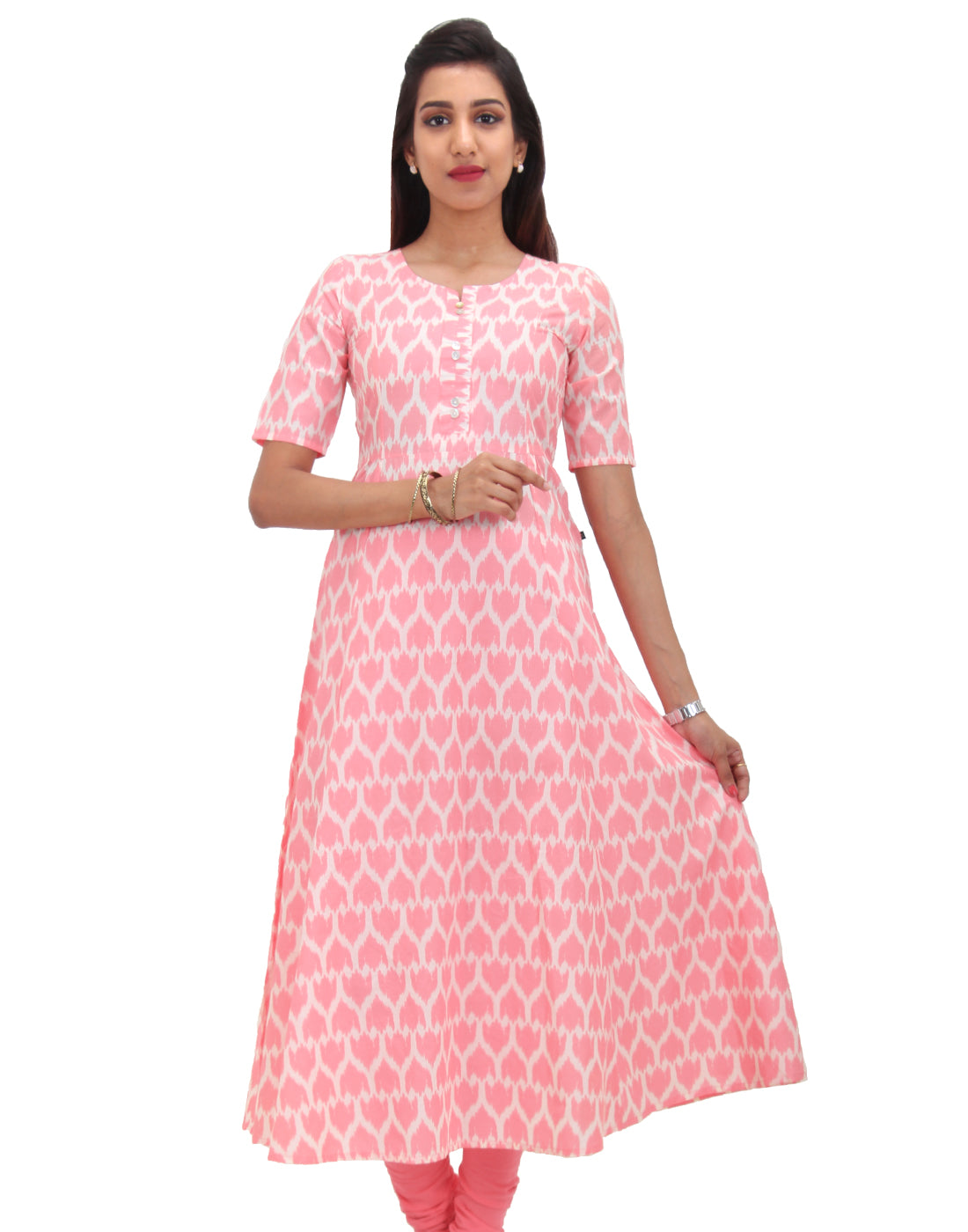Tea Rose Cotton Self Design Anarkali