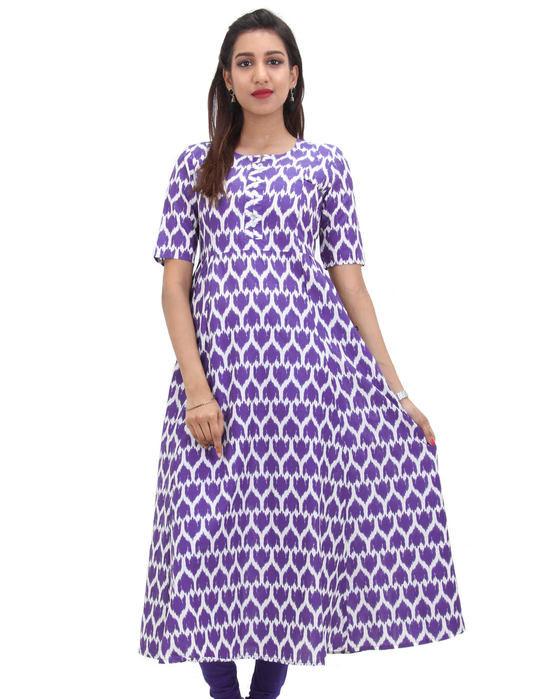 Twilight Blue Cotton Self Design Anarkali
