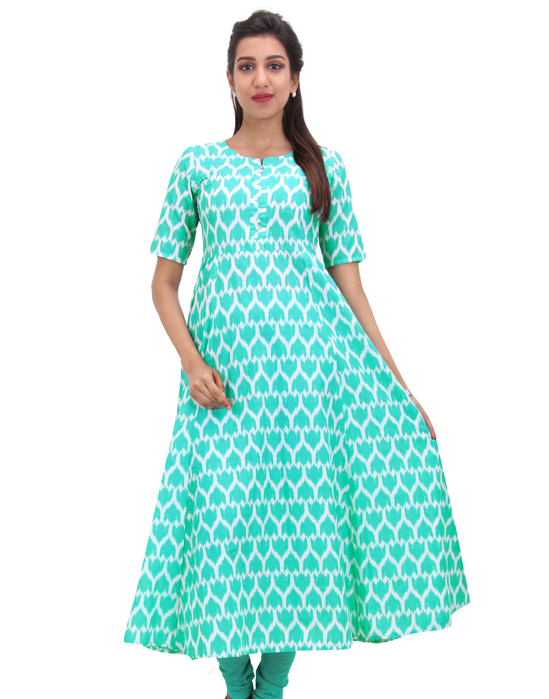 Atlantis Green Cotton Self Design Anarkali