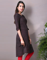 Jet Black Straight Cut Kurta