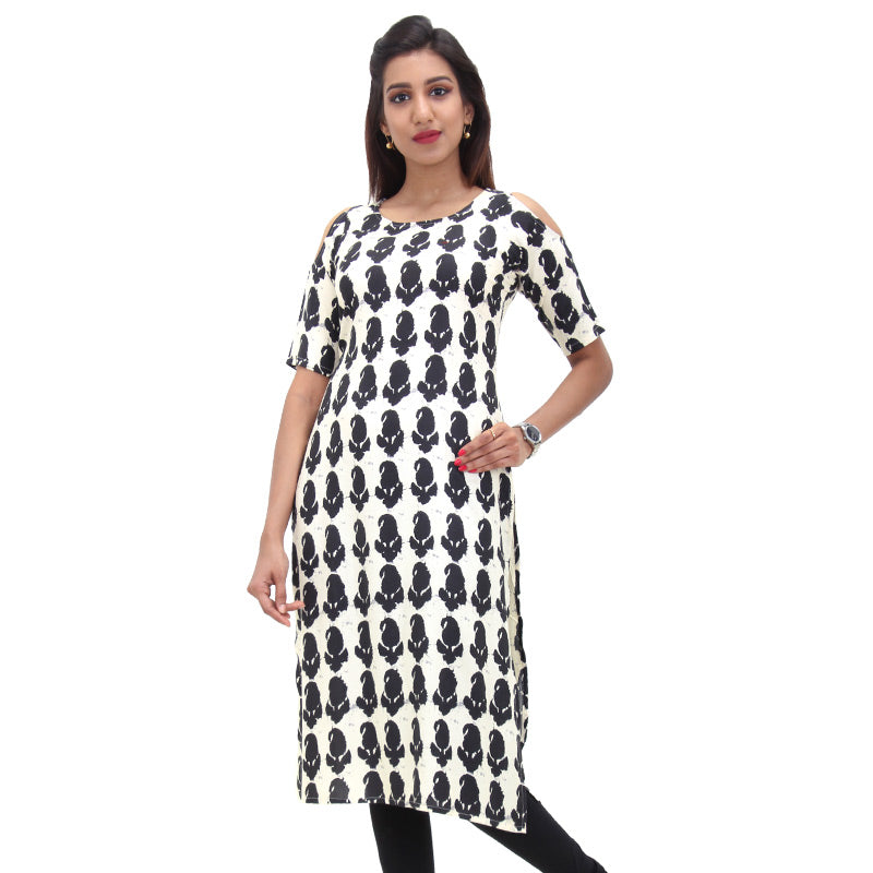 Antique White Cold Shoulder Straight-Cut Kurta