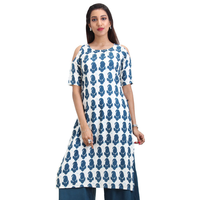 Winter White Cold Shoulder Straight-Cut Kurta