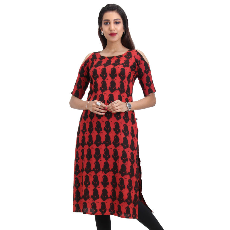 Pompeian Red Cold Shoulder Straight-Cut Kurta