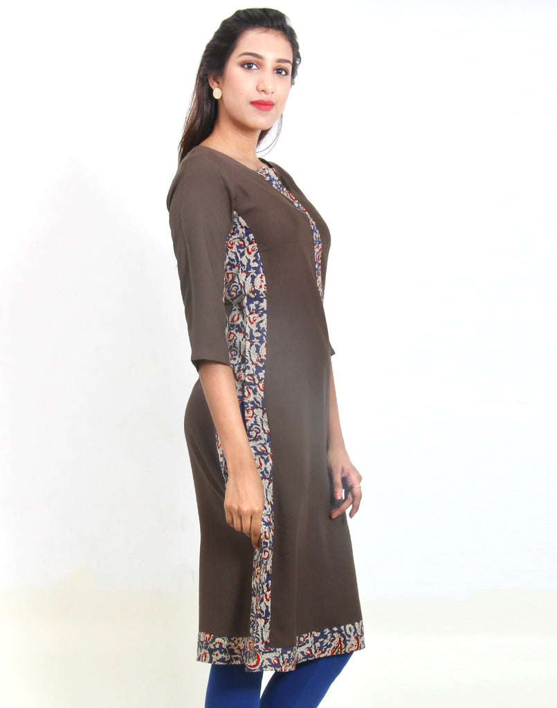 Beluga Gray Straight Cut Kurta With Kalamkari Panel