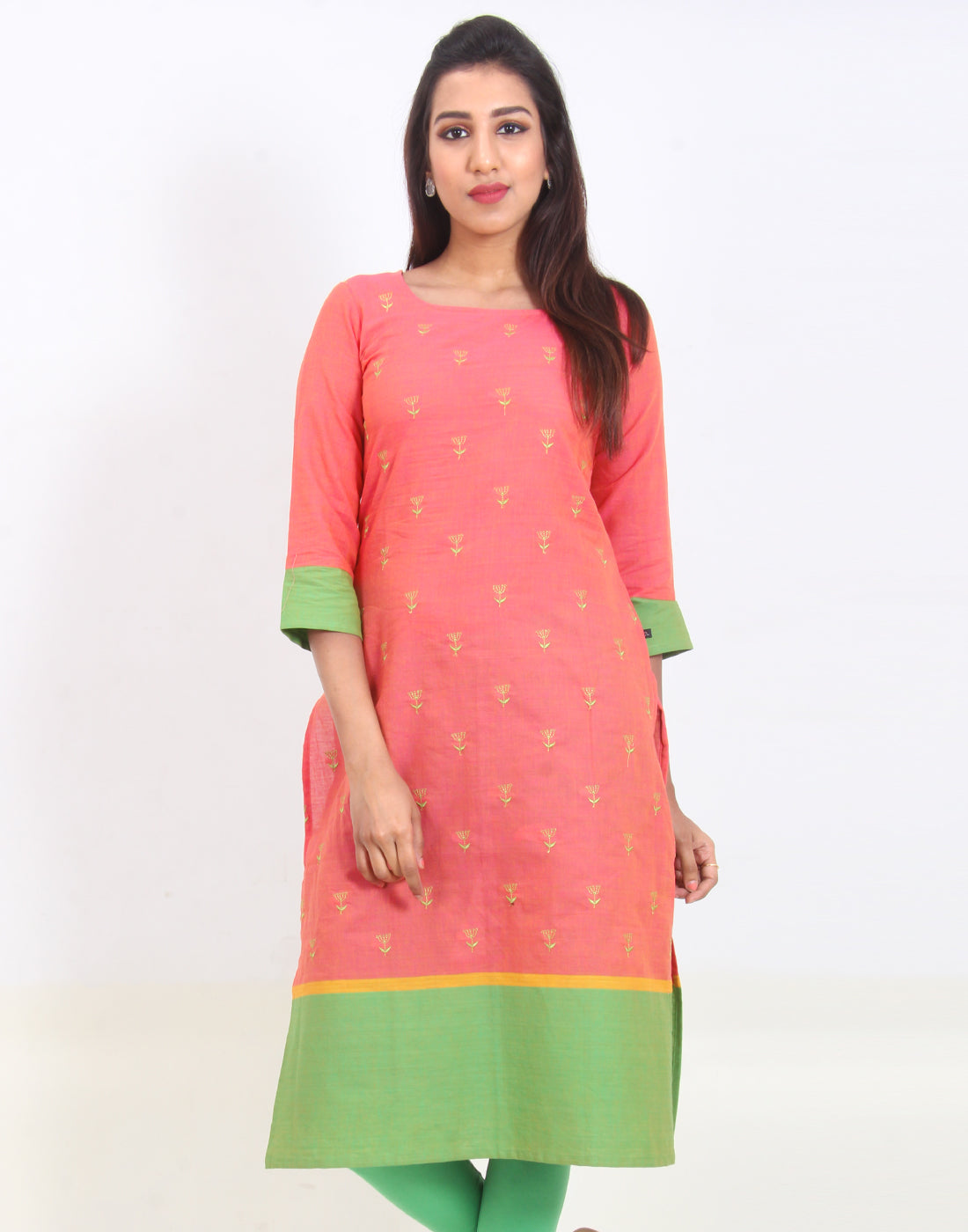 Spiced Coral Embroidered Straight Cut Kurta