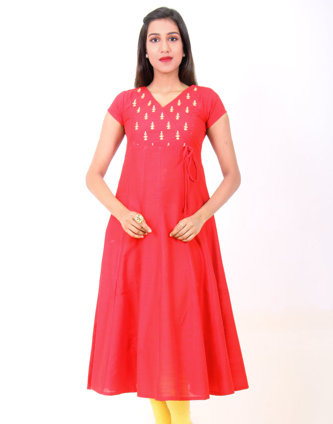 Aurora Red  Raw Silk Anarkali Kurta