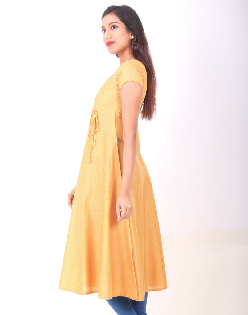 Honey Gold Raw Silk Anarkali Kurta
