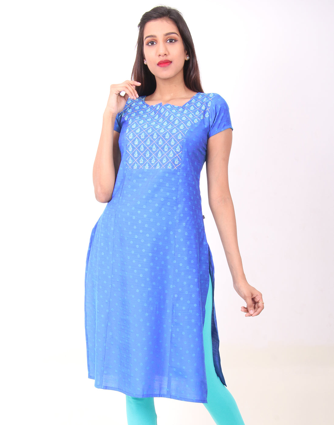 Directoire Blue Embroidered Straight Cut Kurta