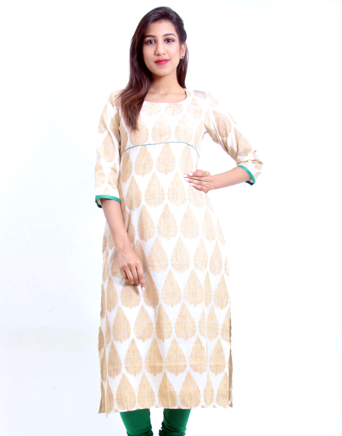 White Smoke Jacquard Straight Cut Kurta