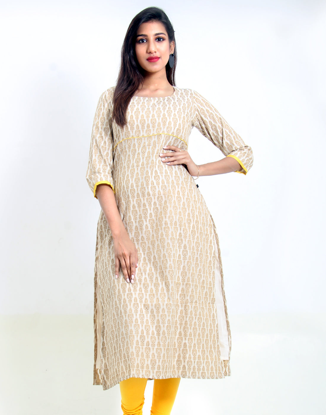 Winter White Jacquard Straight Cut Kurta