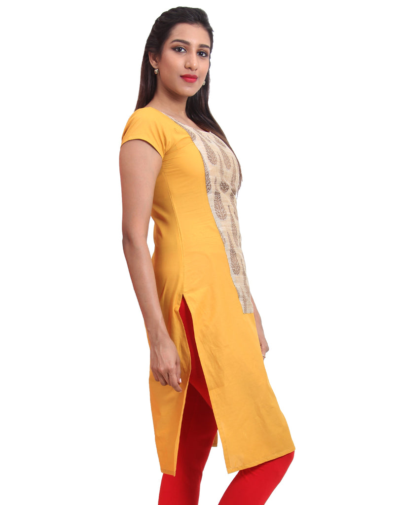 Golden Glow Cotton Straight-Cut Kurta
