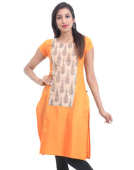 Blazing Orange Cotton Straight-Cut Kurta