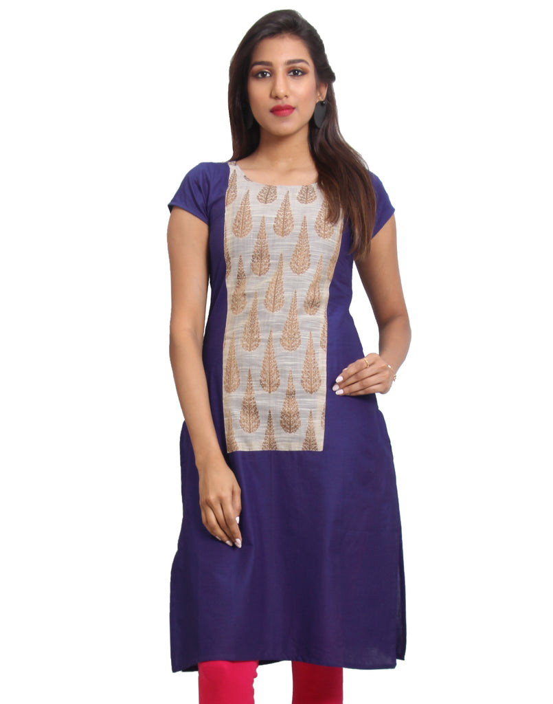 Mazarine Blue Cotton Straight-Cut Kurta