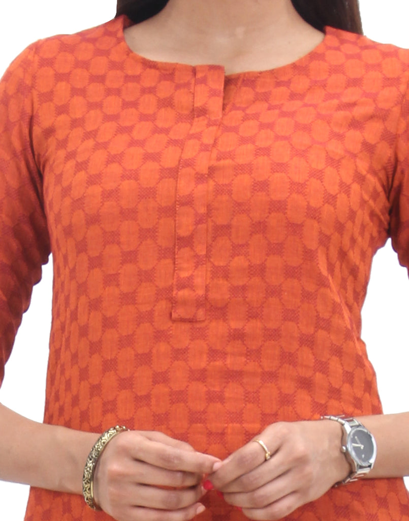 Red Clay Cotton Hi-Low Hemline Tunic