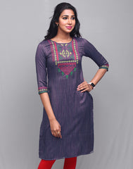 Navy Blue Rayon Striped Straight Cut Kurta
