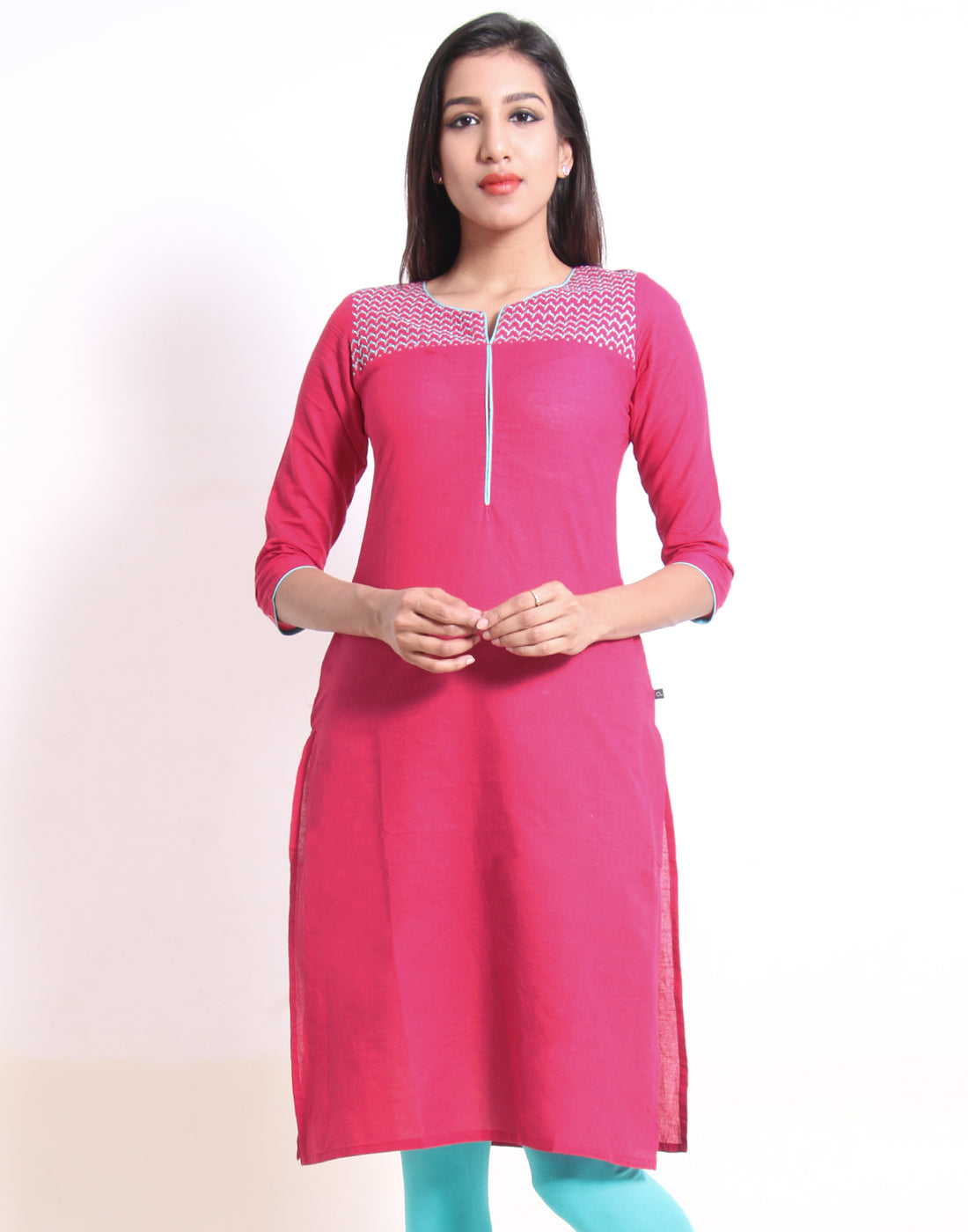 Bright Rose Embroidered Straight Cut Kurta