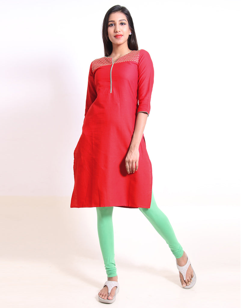 Chinese Red Embroidered Straight Cut Kurta