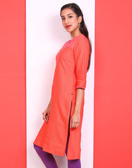 Mandarin Red Embroidered Straight Cut Kurta