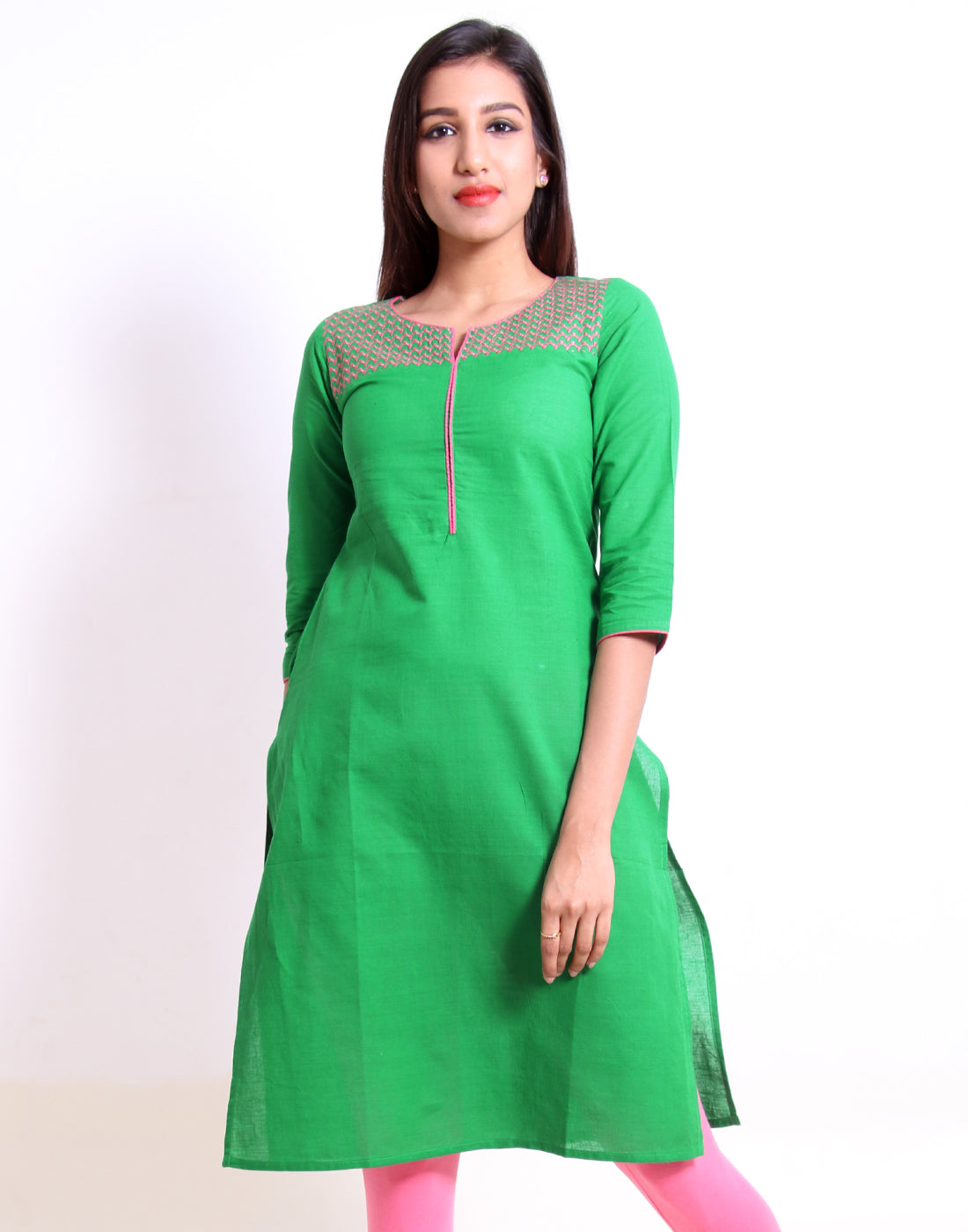 Bright Green Embroidered Straight Cut Kurta