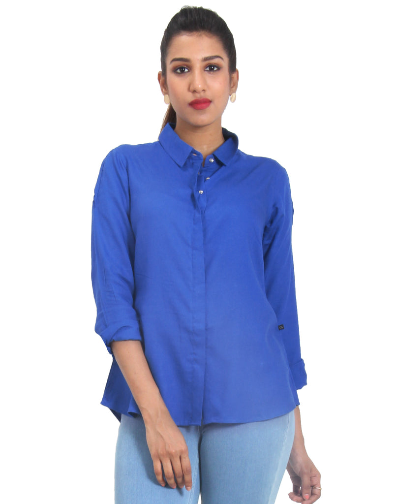 Victoria Blue Solid Rayon Top