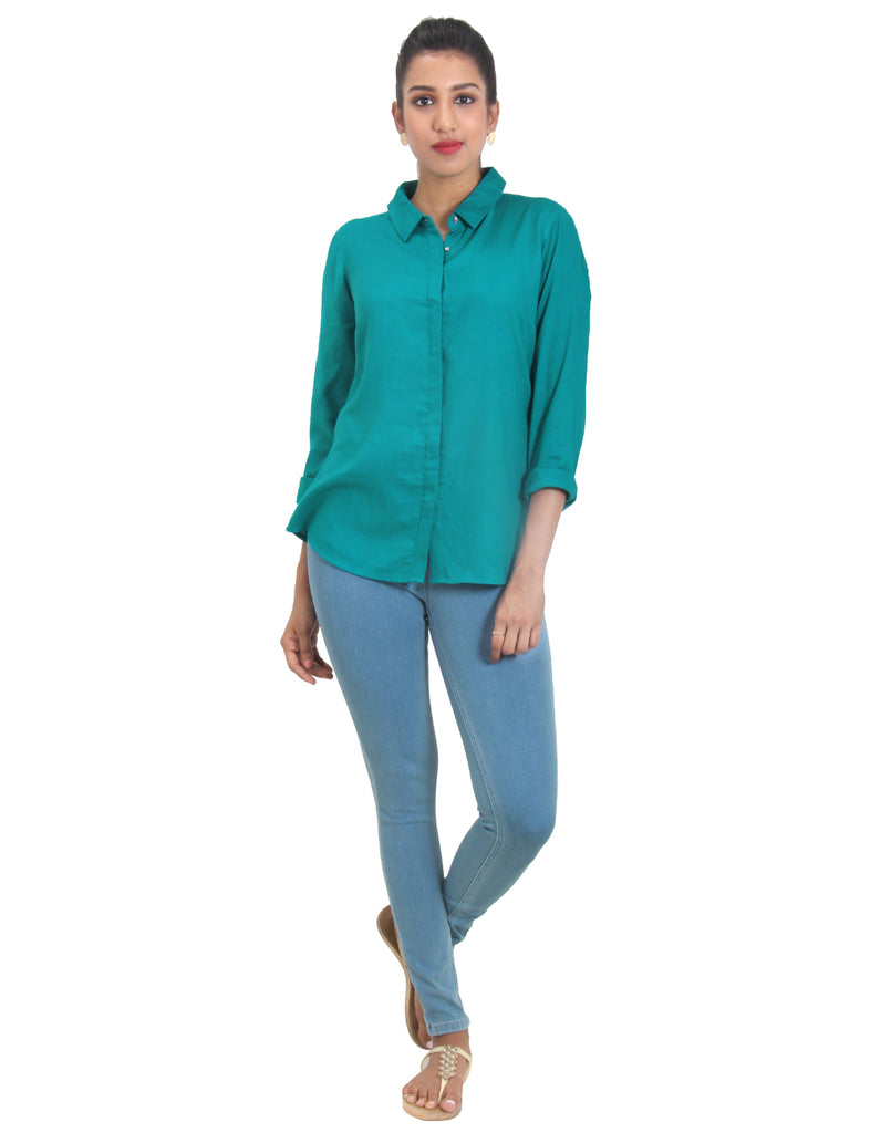 Tile Blue Solid Rayon Top