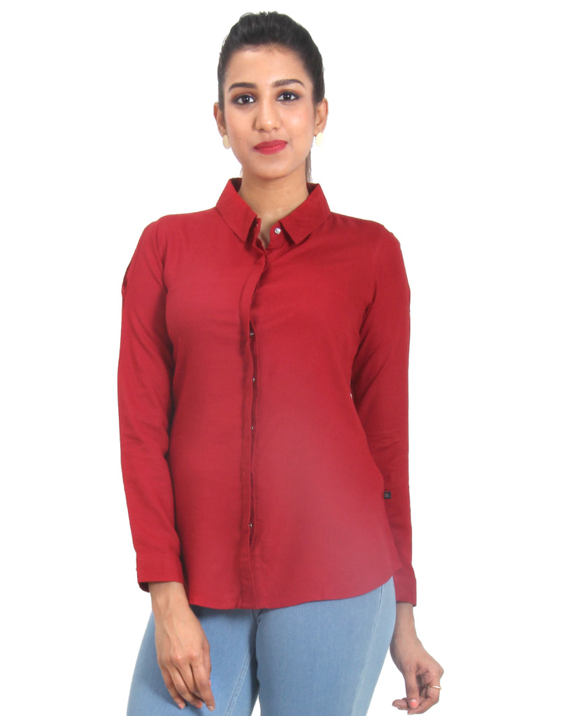 Tango Red Solid Rayon Top