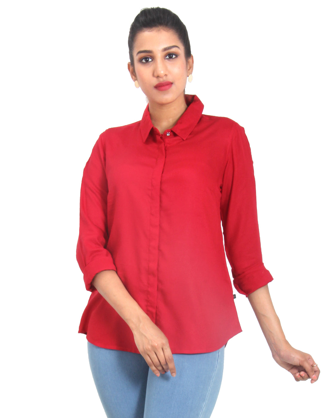 Tomato Puree Solid Rayon Top